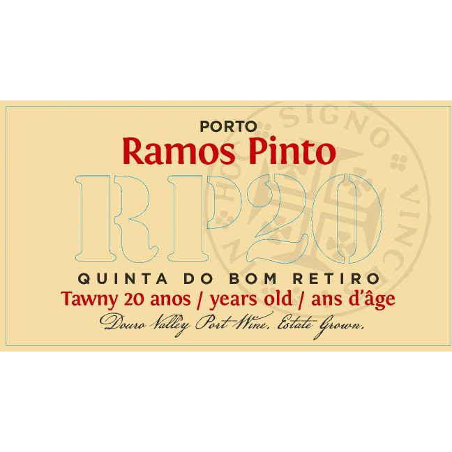 Ramos Pinto 20 Year Tawny Quinta do Bom Retiro Front Label