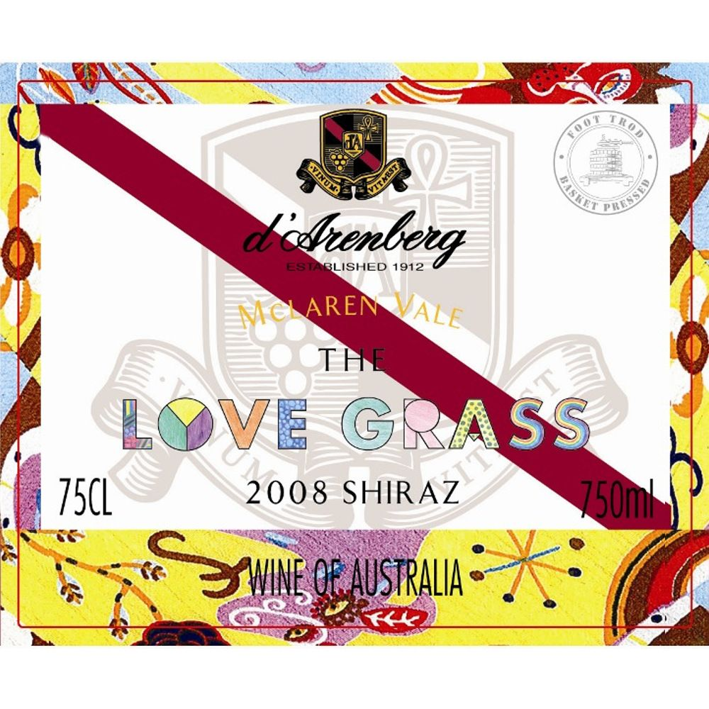 d'Arenberg The Love Grass Shiraz 2008 Front Label