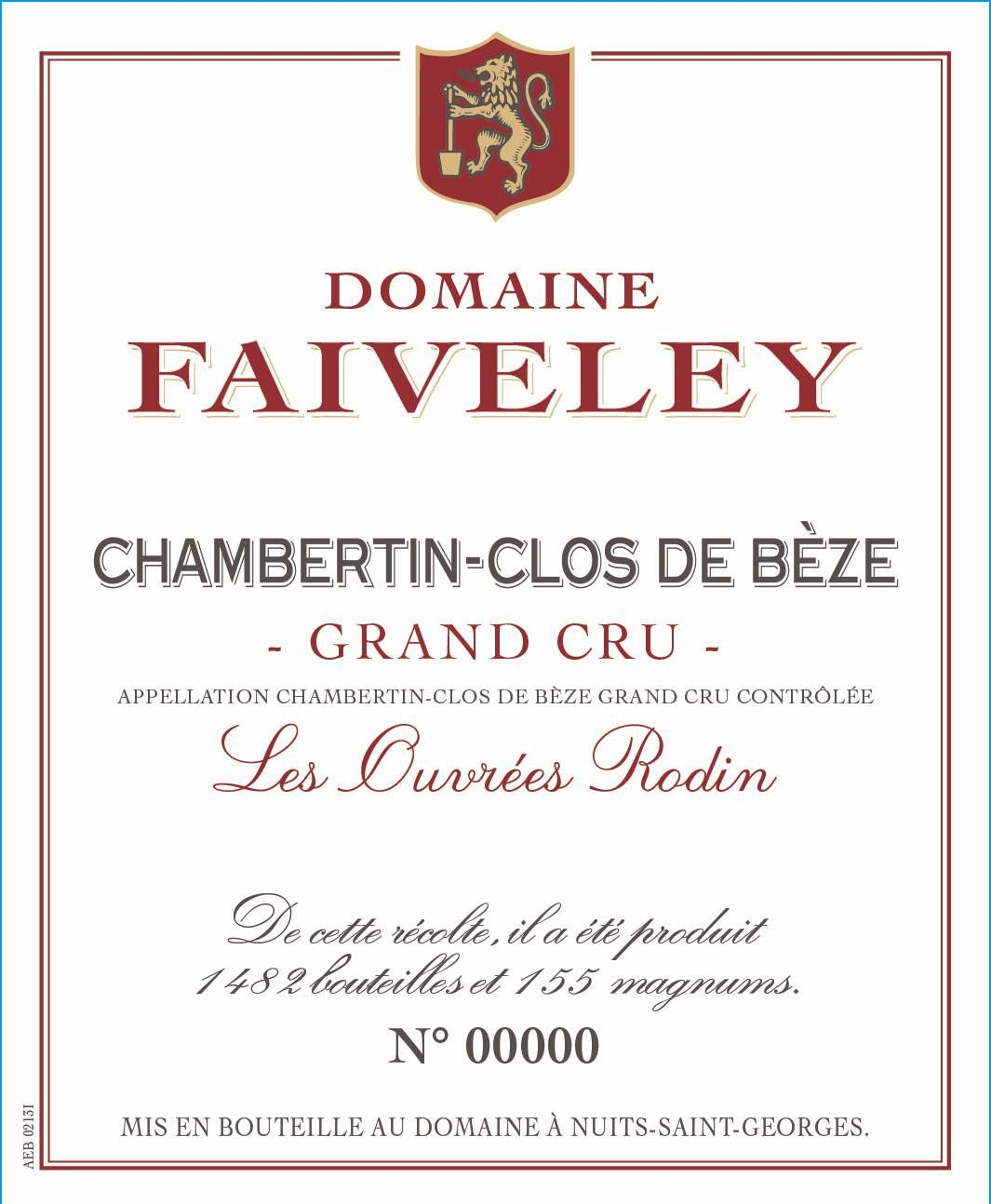 Domaine Faiveley Chambertin Clos Beze Les Ouvrees Rodin Grand Cru 2014 Front Label