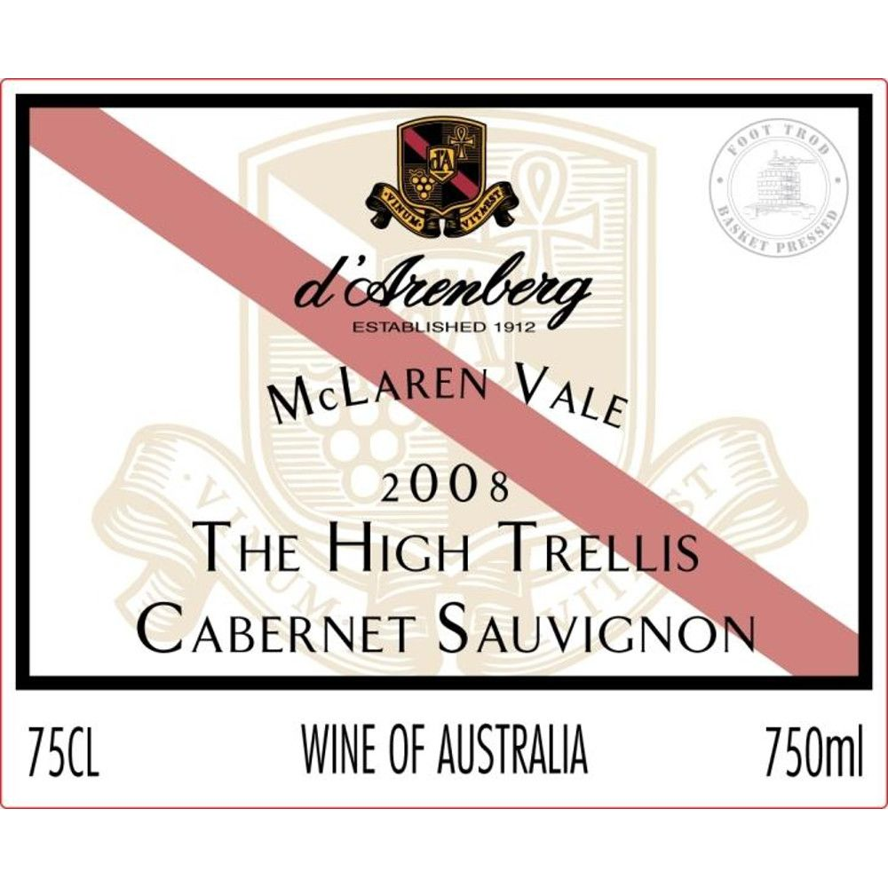 d'Arenberg The High Trellis Cabernet Sauvignon 2008 Front Label