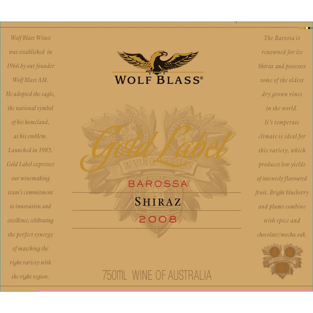 Wolf Blass Gold Label Shiraz 2008 Front Label