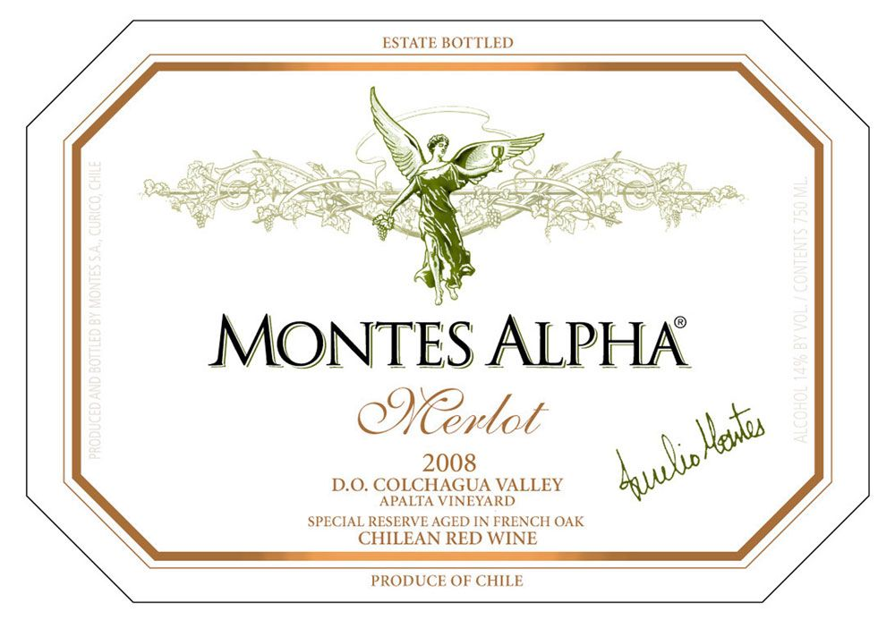 Montes Alpha Series Merlot 2008 Front Label