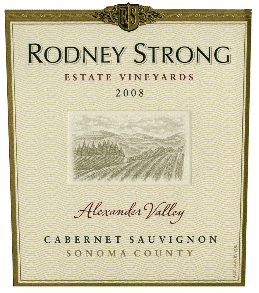 Rodney Strong Alexander Valley Estate Cabernet Sauvignon 2008 Front Label