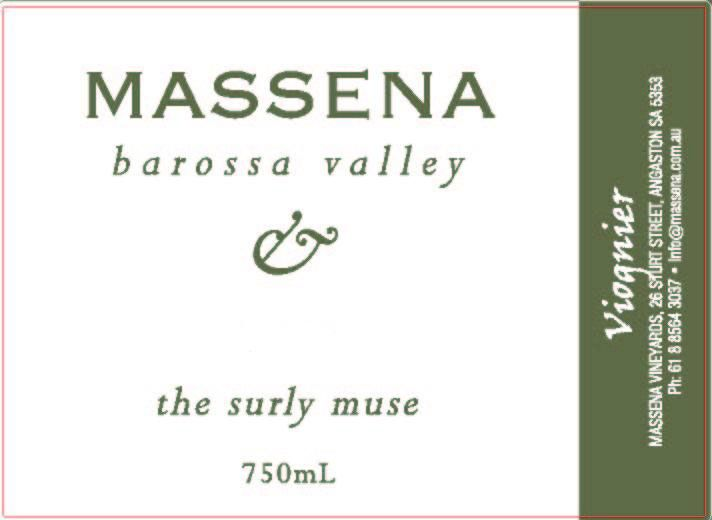 Massena The Surly Muse Viognier 2009 Front Label