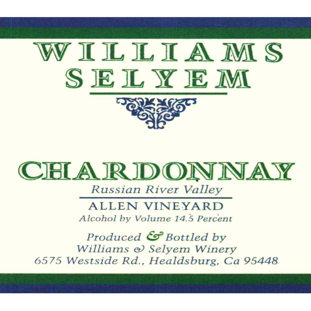 Williams Selyem Allen Vineyard Chardonnay 2008 Front Label