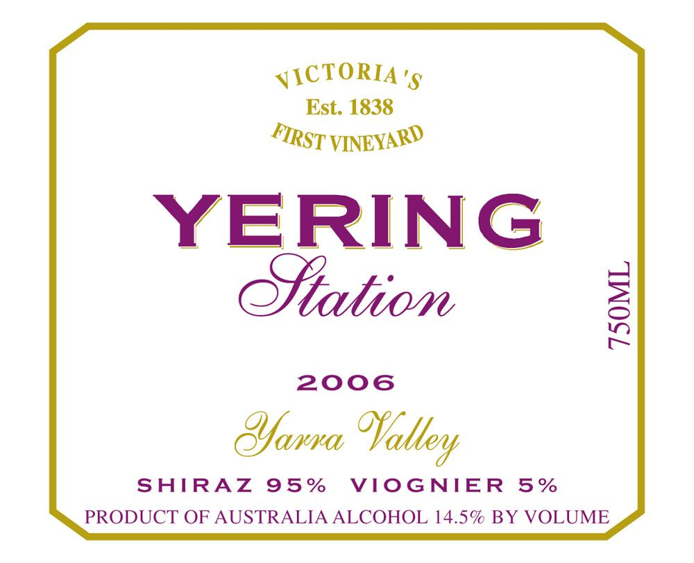 Yering Station Shiraz Viognier 2006 Front Label