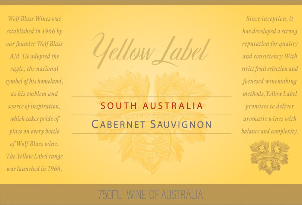 Wolf Blass Yellow Label Cabernet Sauvignon 2009 Front Label
