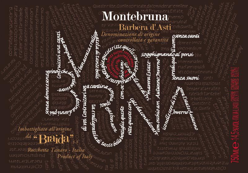 Braida Barbera Montebruna 2008 Front Label