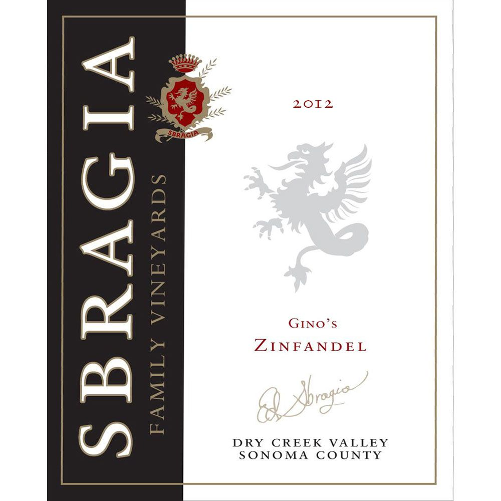 Sbragia Gino's Dry Creek Valley Zinfandel 2012 Front Label