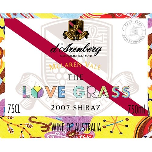 d'Arenberg The Love Grass Shiraz 2007 Front Label
