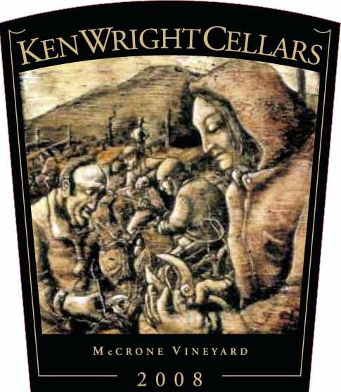 Ken Wright Cellars McCrone Vineyard Pinot Noir 2008 Front Label