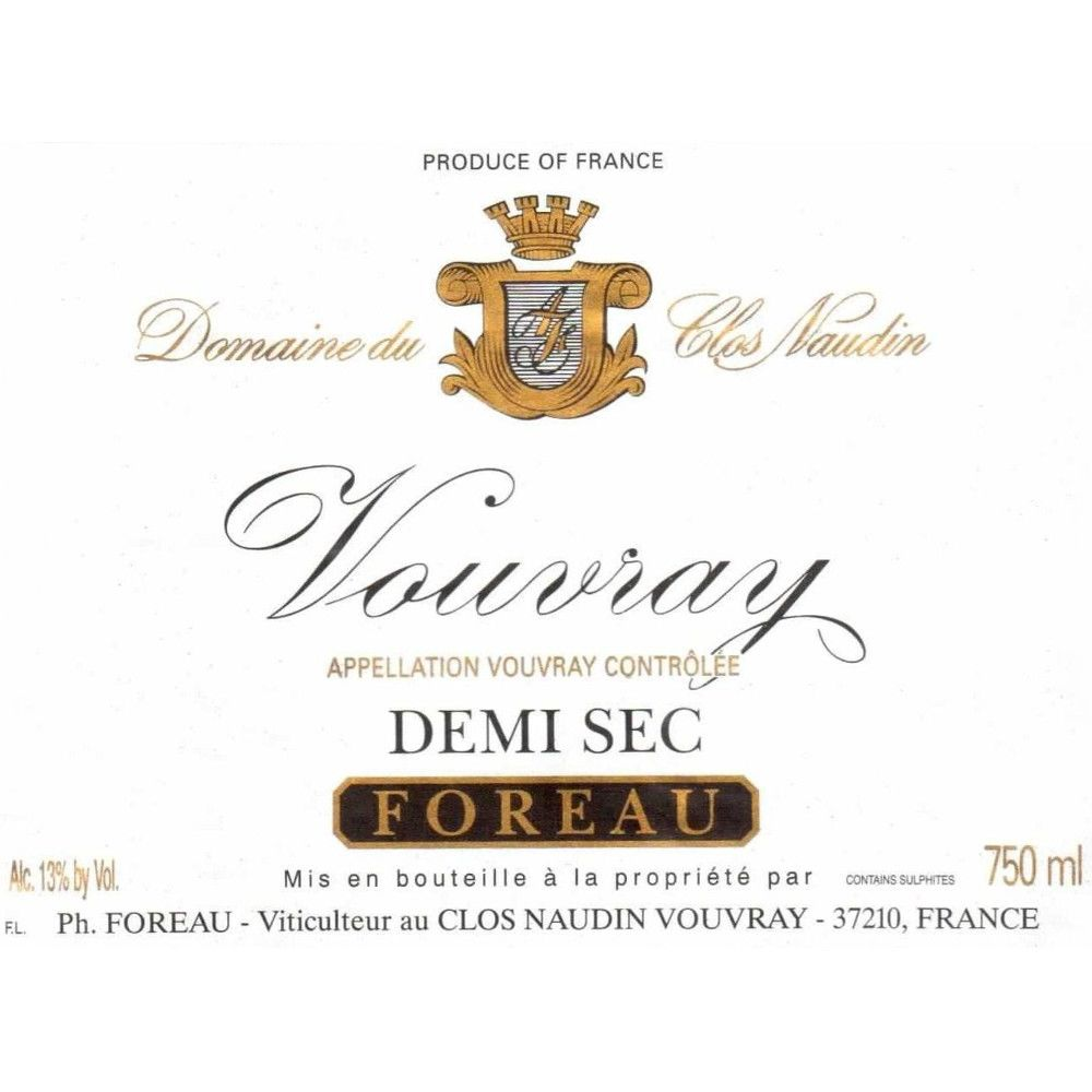 Philippe Foreau Vouvray Clos Naudin Demi-Sec 2008 Front Label