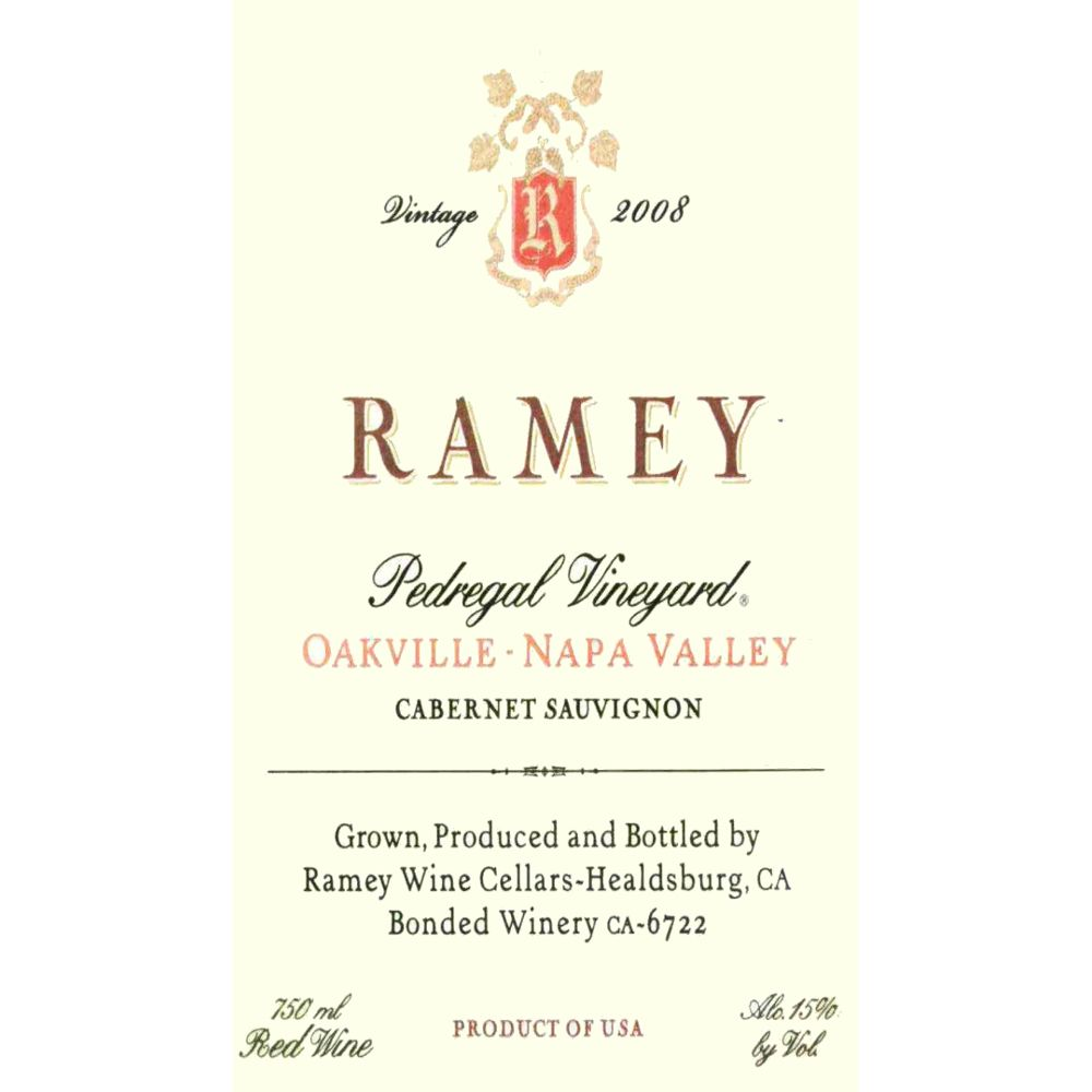 Ramey Pedregal Vineyard Cabernet Sauvignon 2008 Front Label