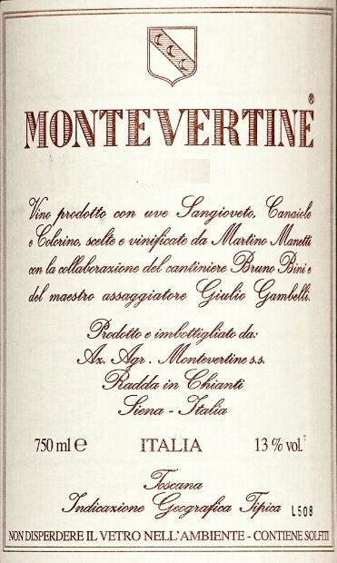 Montevertine Rosso di Toscana 2006 Front Label