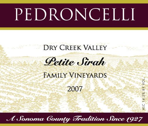 Pedroncelli Family Vineyard Petite Sirah 2007 Front Label