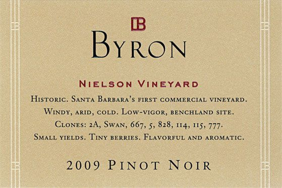 Byron Nielson Vineyard Pinot Noir 2009 Front Label