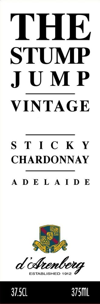 d'Arenberg Sticky Chardonnay (375ML half-bottle) 2008 Front Label