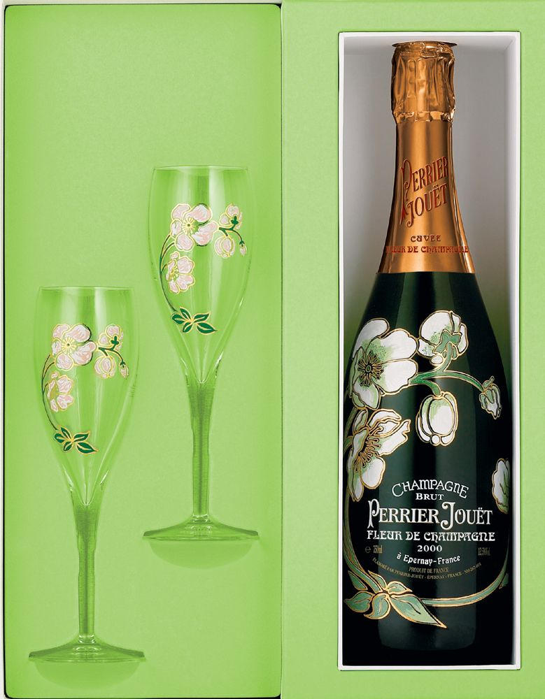 Perrier-Jouet Belle Epoque Glass Set 2002 Front Label