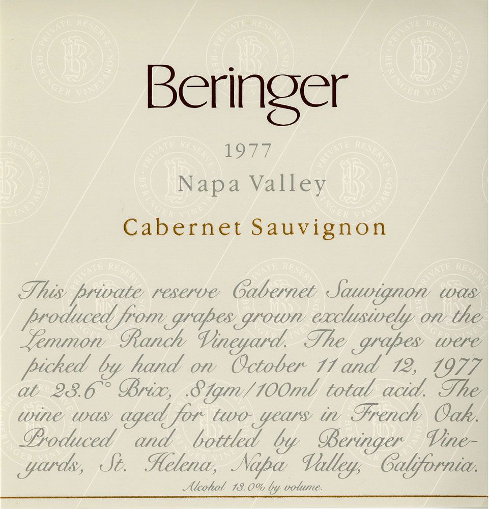 Beringer Private Reserve Cabernet Sauvignon (stained labels) 1977 Front Label