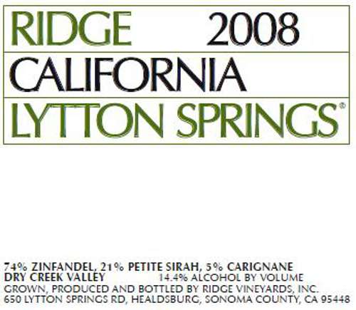 Ridge Lytton Springs (375ML half-bottle) 2008 Front Label