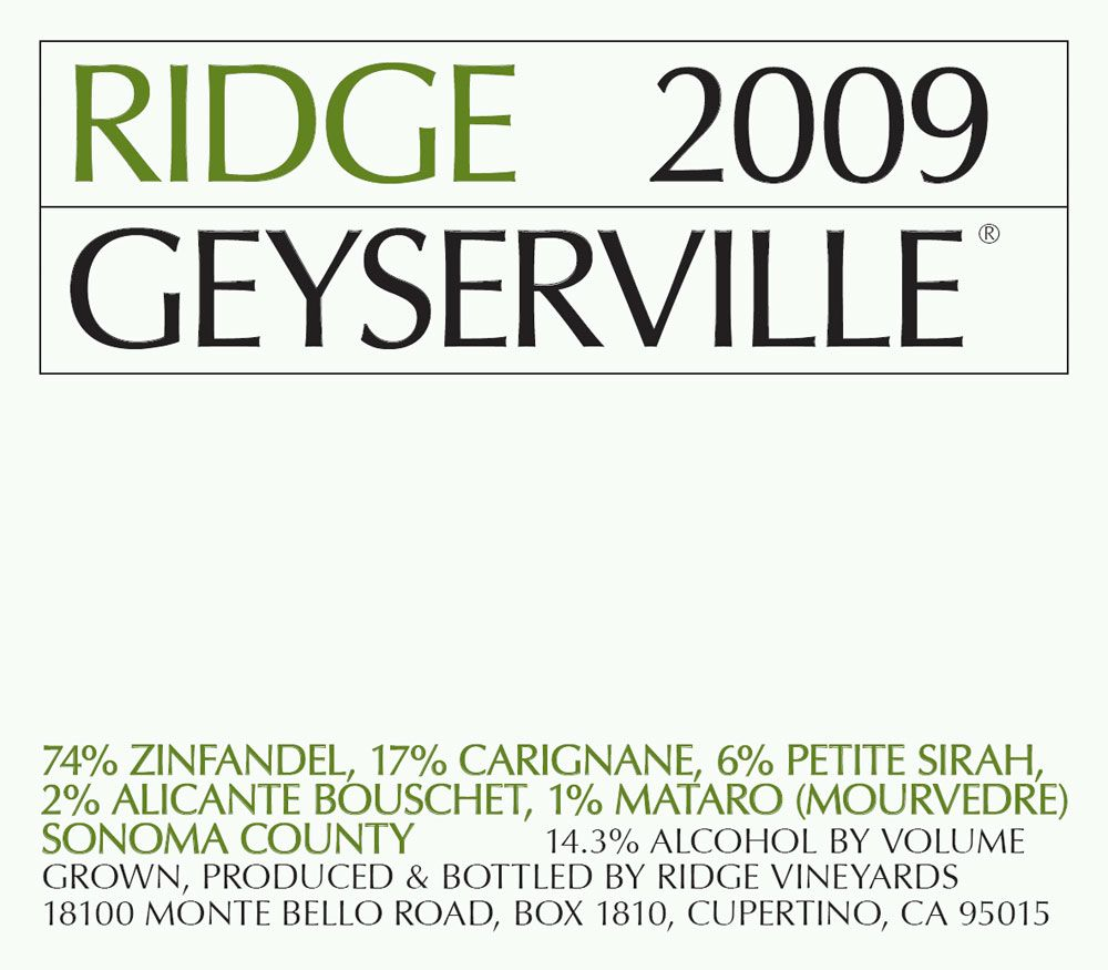 Ridge Geyserville (375ML half-bottle) 2009 Front Label