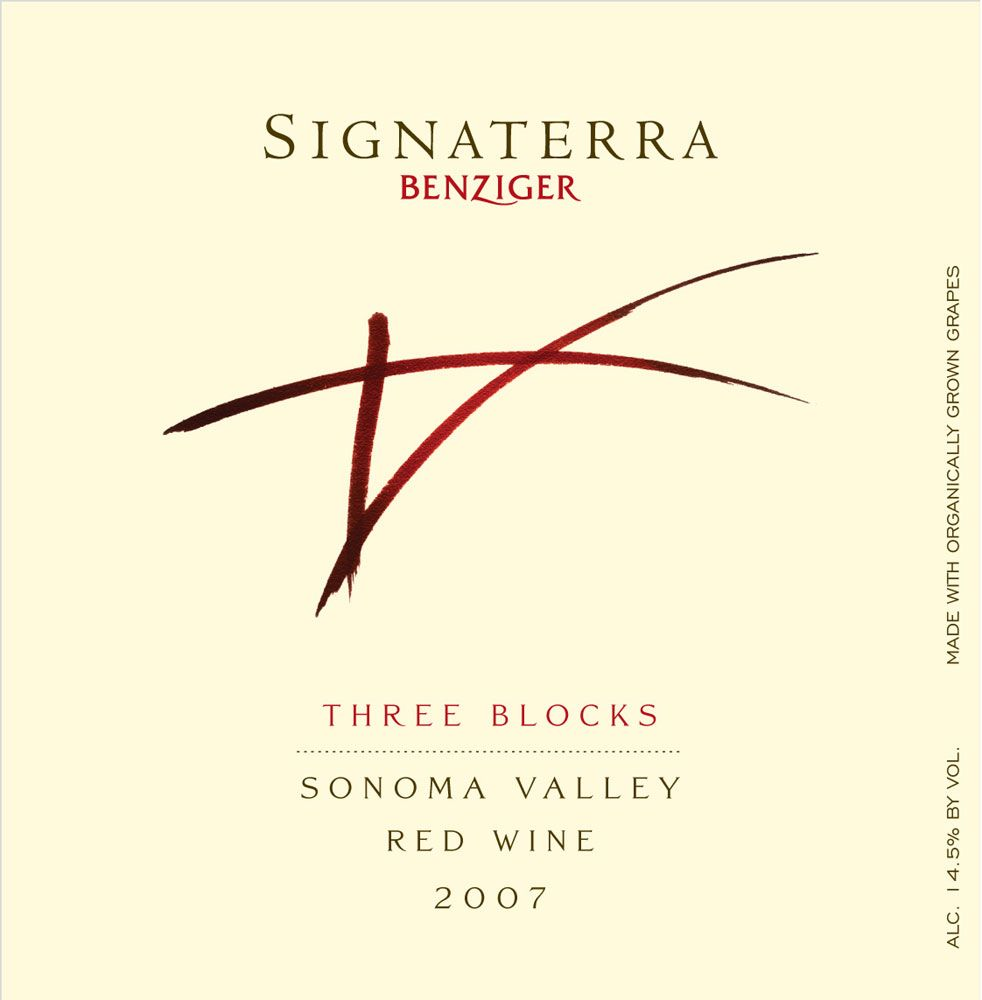 Benziger Signaterra Three Blocks 2007 Front Label