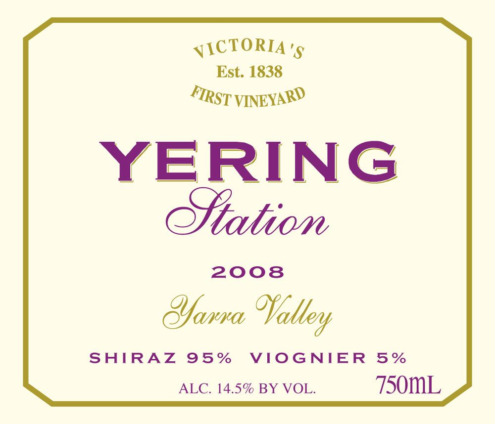 Yering Station Shiraz Viognier 2008 Front Label
