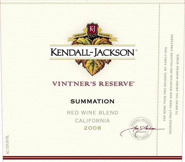 Kendall-Jackson Summation Red Blend 2008 Front Label