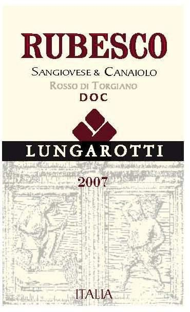 Lungarotti Rubesco 2007 Front Label