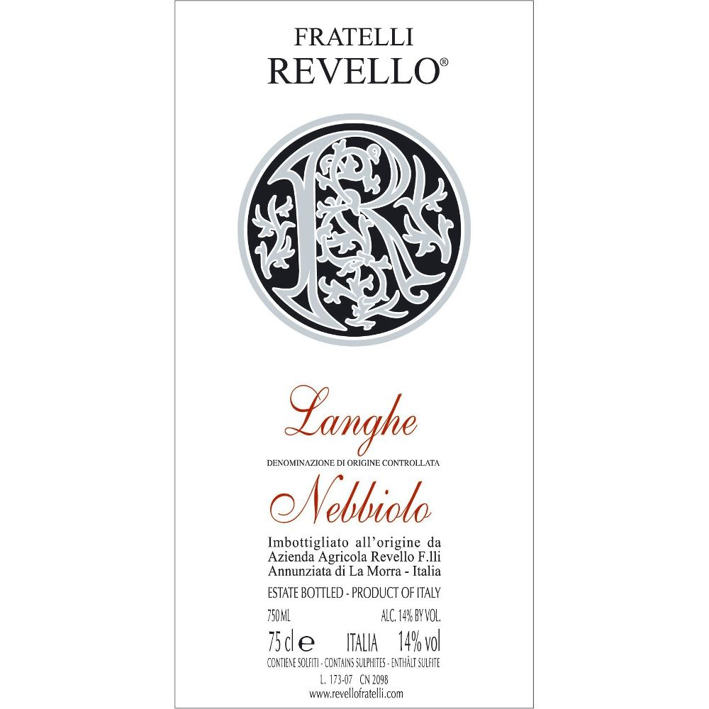 Fratelli Revello Langhe Nebbiolo 2008 Front Label