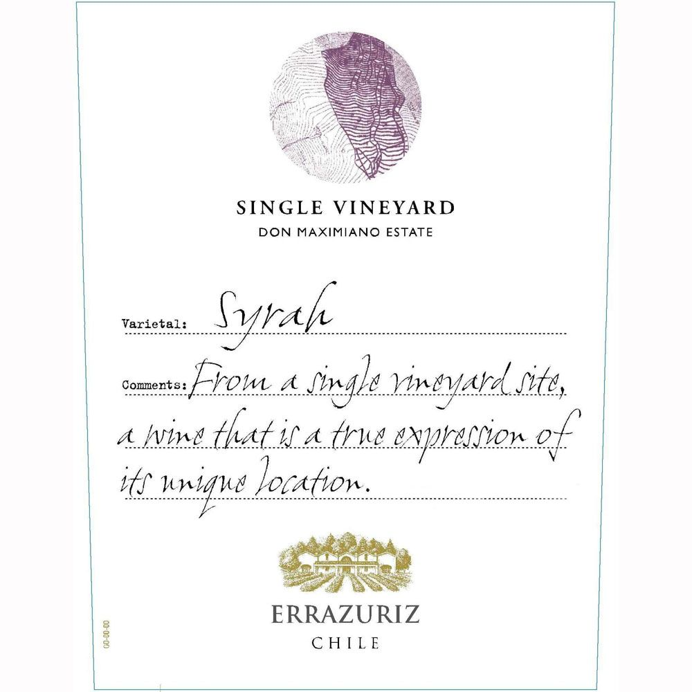 Errazuriz Single Vineyard Syrah 2009 Front Label