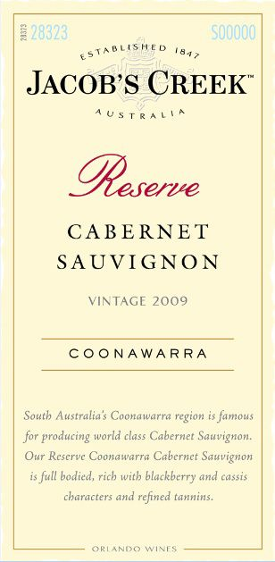 Jacob's Creek Reserve Cabernet Sauvignon 2009 Front Label