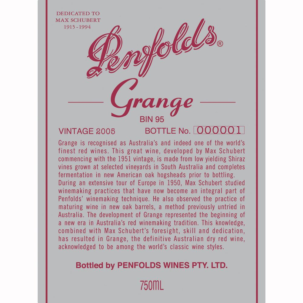 Penfolds Grange 2006 Front Label