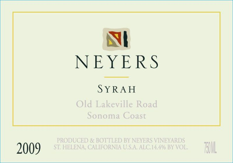 Neyers Syrah Sonoma Coast Old Lakeville Road 2009 Front Label