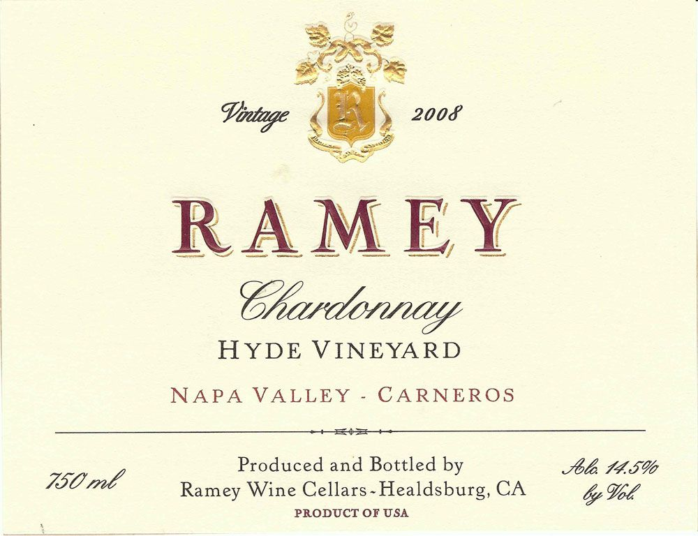 Ramey Hyde Vineyard Chardonnay 2008 Front Label