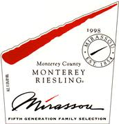 Mirassou Family Selection Monterey Riesling 1997 Front Label