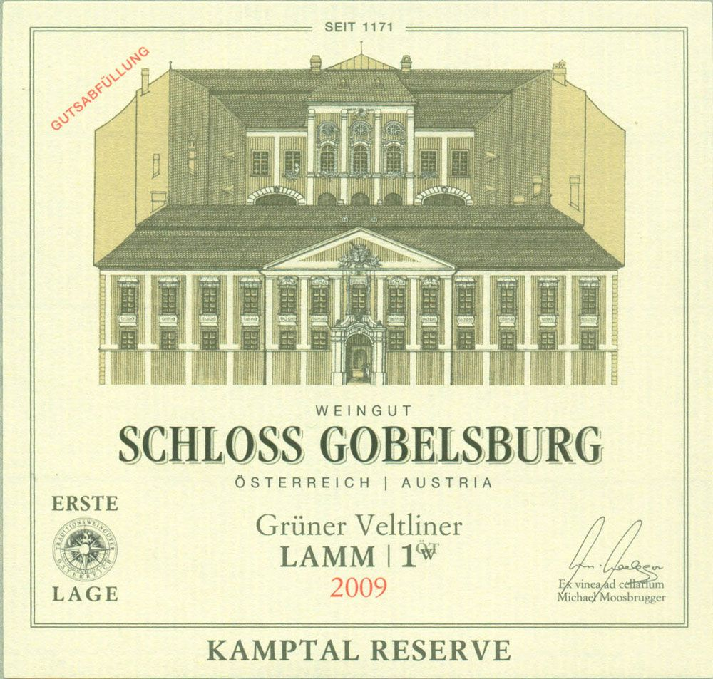 Schloss Gobelsburg Lamm Gruner Veltliner (375ML Half-bottle) 2009 Front Label