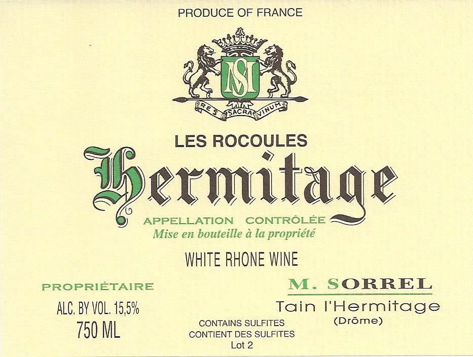 Domaine Marc Sorrel Hermitage Les Rocoules 2010 Front Label
