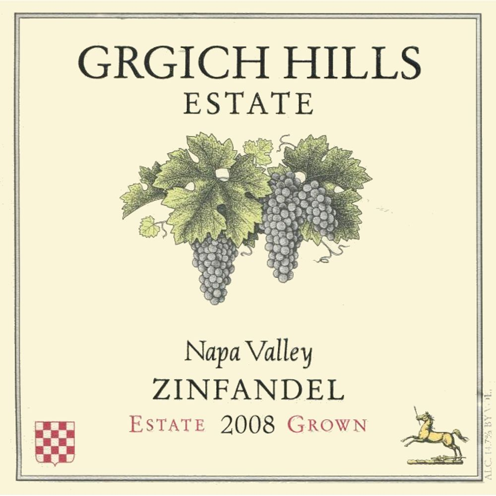 Grgich Hills Estate Zinfandel 2008 Front Label