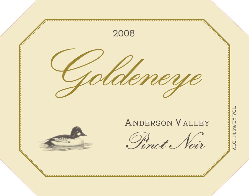 Goldeneye Anderson Valley Pinot Noir 2008 Front Label