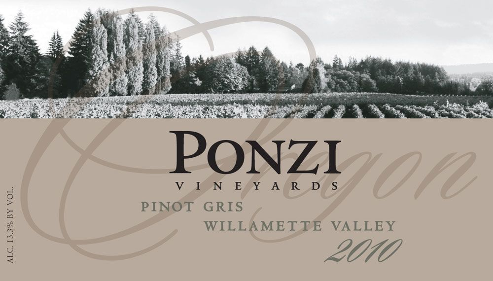 Ponzi Pinot Gris 2010 Front Label