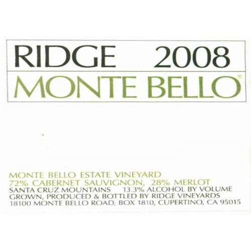 Ridge Monte Bello 2008 Front Label