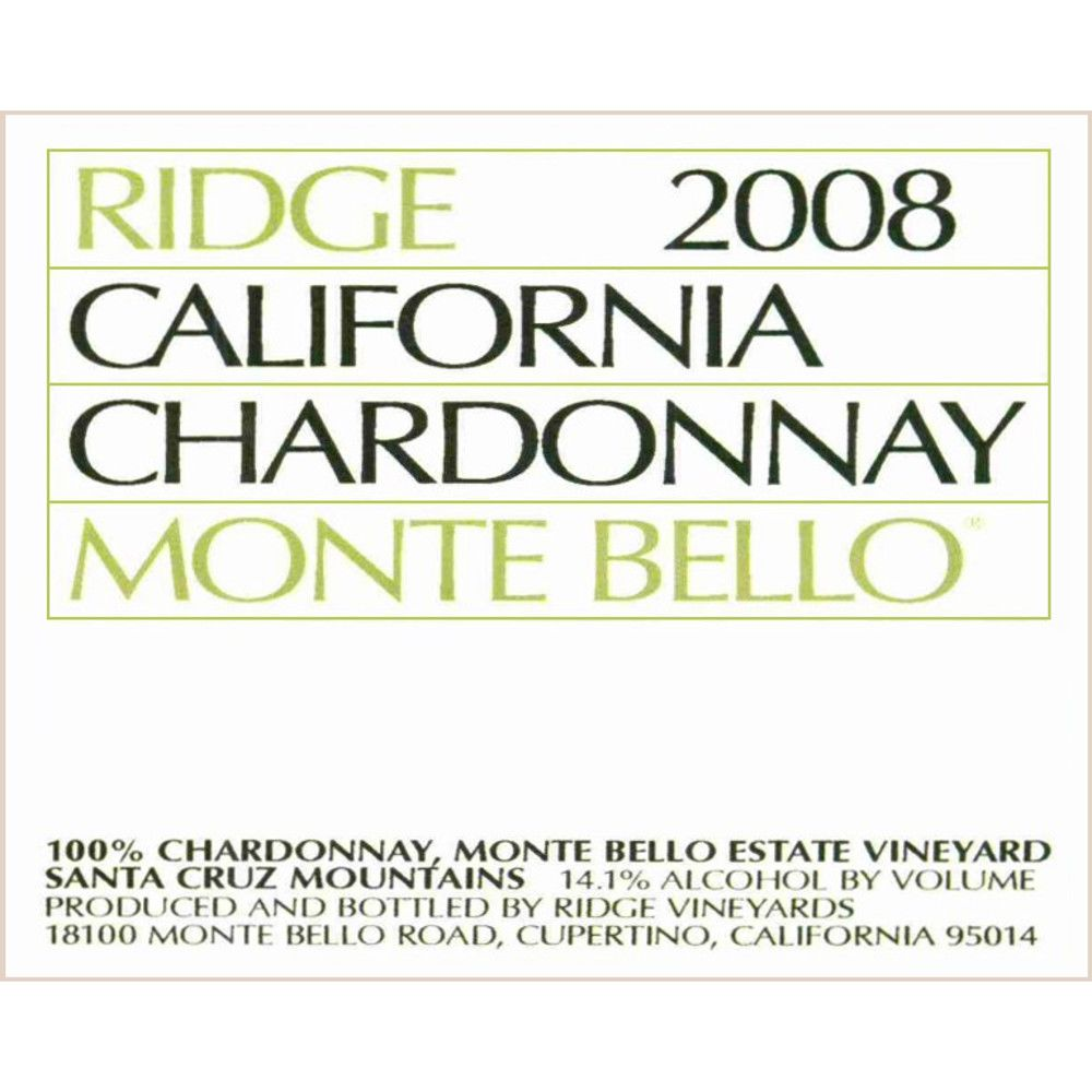 Ridge Monte Bello Chardonnay 2008 Front Label