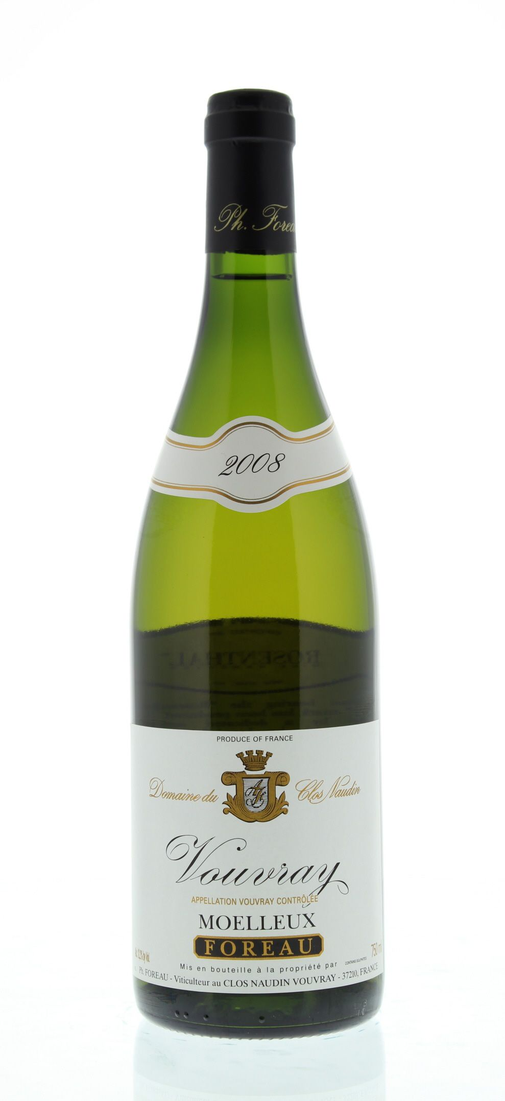 Philippe Foreau Vouvray Moelleux Clos Naudin 2008 Front Bottle Shot
