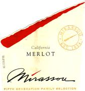 Mirassou Family Selection Merlot 1996 Front Label