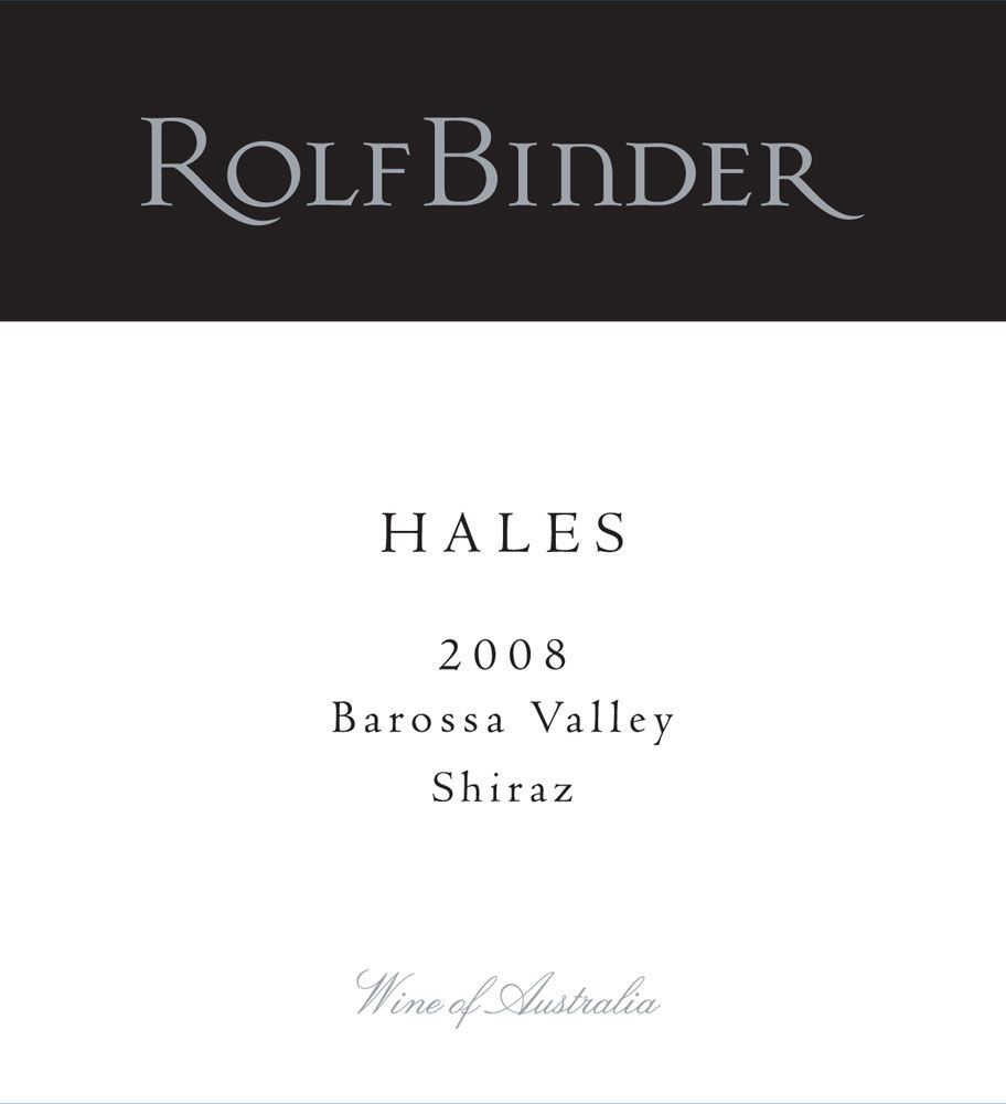 Rolf Binder Hales Shiraz 2008 Front Label