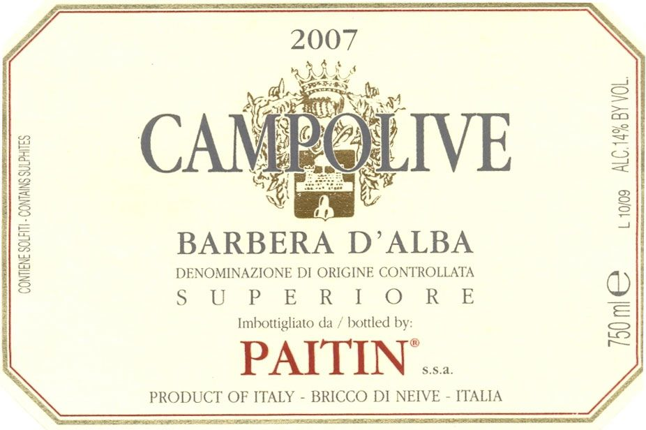 Paitin Barbera d'Alba Campolive 2007 Front Label