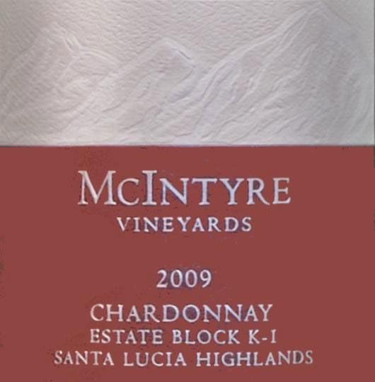 McIntyre Estate Block K-1 Chardonnay 2009 Front Label