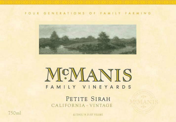 McManis Family Vineyards Petite Sirah 2010 Front Label