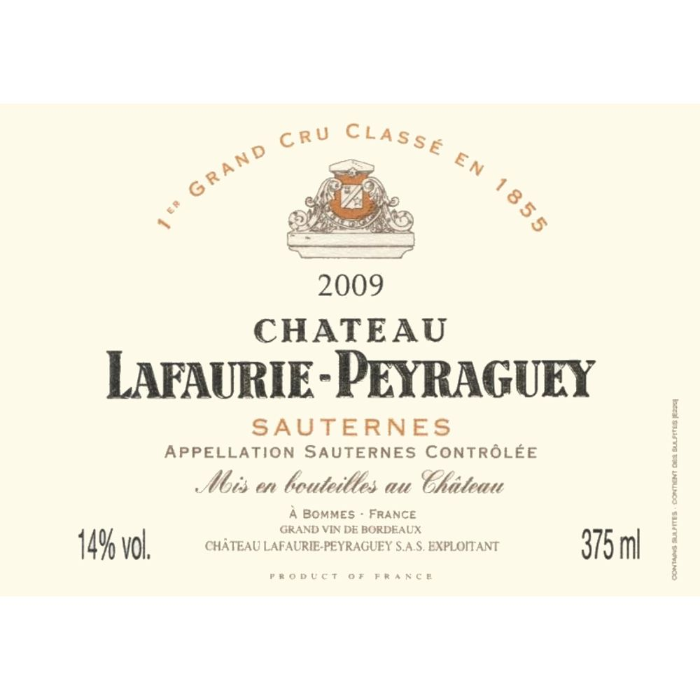 Chateau Lafaurie-Peyraguey Sauternes (375ML half-bottle) 2009 Front Label